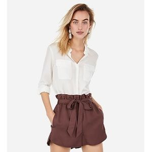 Express High Waisted Paperbag Utility Shorts